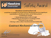 Hawkins Construction Safety Award